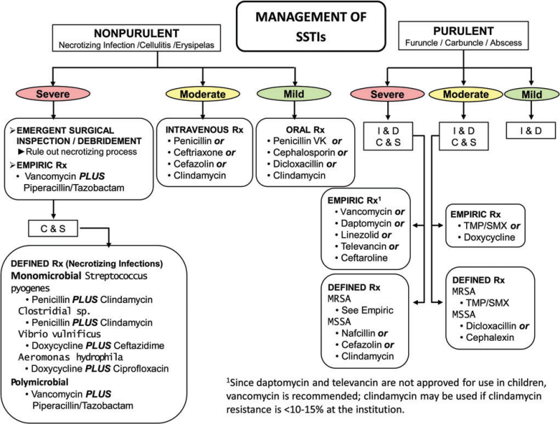 Flowchart skin infections (Infectious Diseases Society of America)